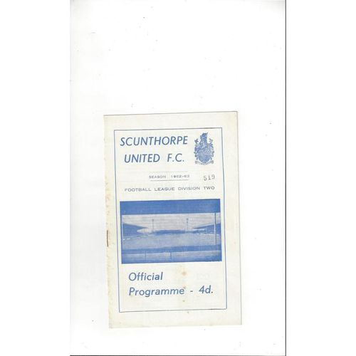 1962/63 Scunthorpe United v Derby County Football Programme
