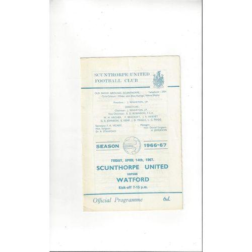 1966/67 Scunthorpe United v Watford Football Programme