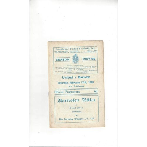 1967/68 Scunthorpe United v Barrow Football Programme