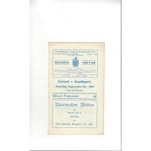 1967/68 Scunthorpe United v Southport Football Programme