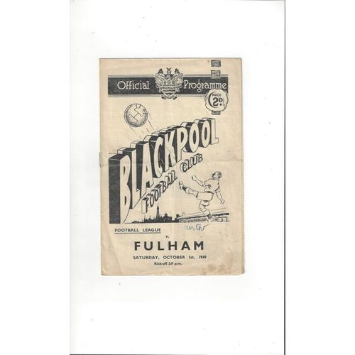1949/50 Blackpool v Fulham Football Programme