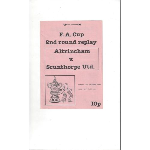 1980/81 Altrincham v Scunthorpe United FA Cup Replay Football Programme