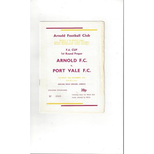 1977/78 Arnold v Port Vale FA Cup Football Programme