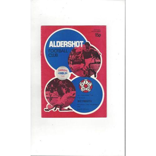 1978/79 Aldershot v Weymouth FA Cup Football Programme
