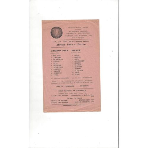 1969/70 Alfreton Town v Barrow FA Cup Replay Football Programme Single Sheet