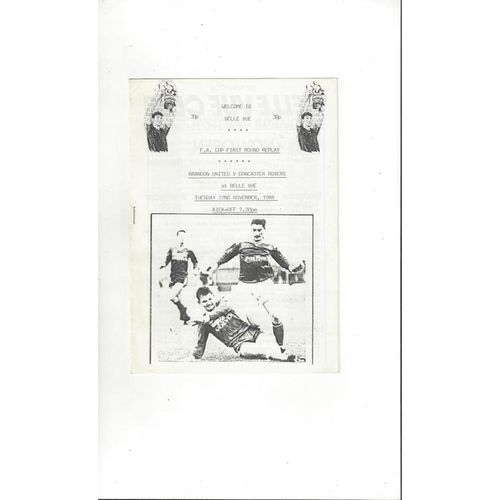 Brandon United v Doncaster Rovers FA Cup Replay Football Programme 1988/89