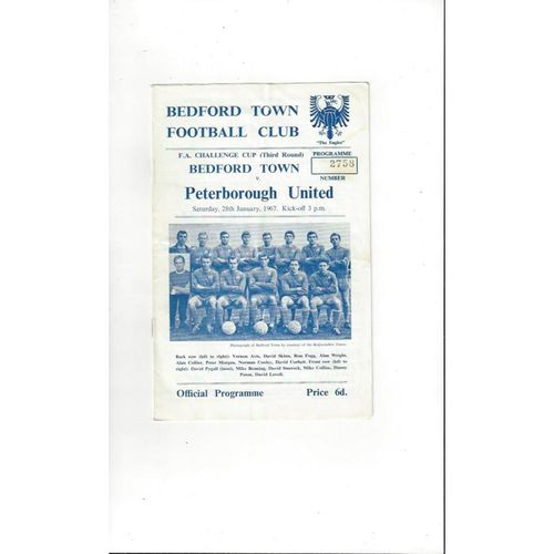 1966/67 Bedford Town v Peterborough United FA Cup Football Programme