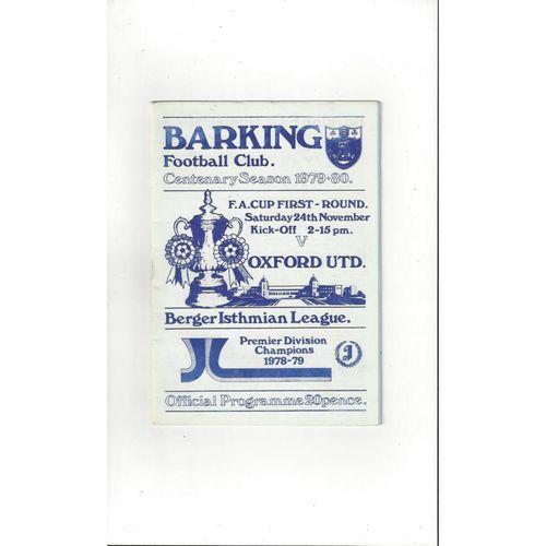 1978/79 Barking v Oxford United FA Cup Football Programme