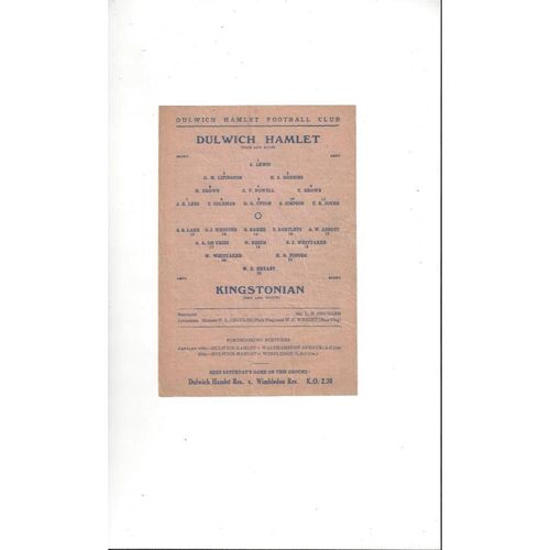 1945/46 Dulwich Hamlet v Kingstonian Isthmian League Football Programme