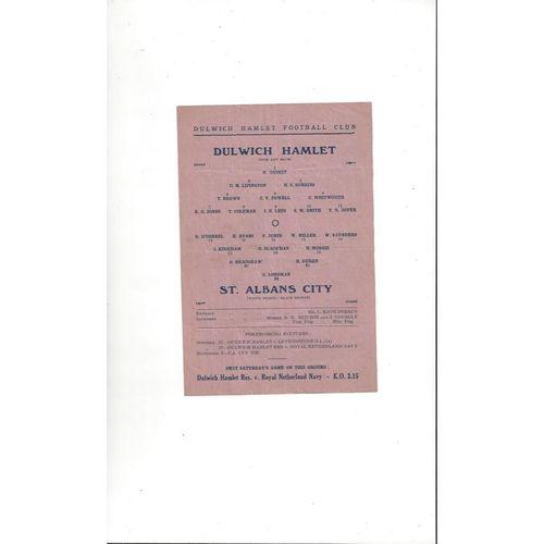 1945/46 Dulwich Hamlet v St Albans City Football Programme
