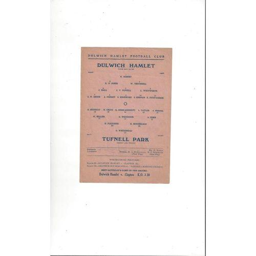 1945/46 Dulwich Hamlet v Tufnell Park Football Programmes