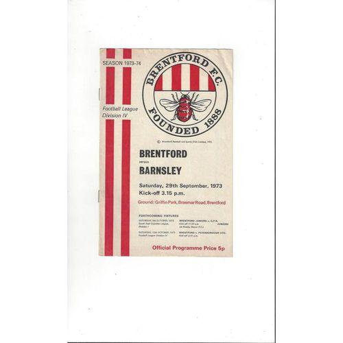 1973/74 Brentford v Barnsley Football Programme