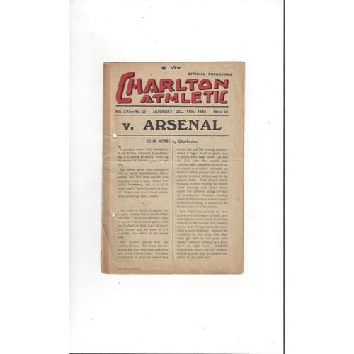 1948/49 Charlton Athletic v Arsenal Football Programme