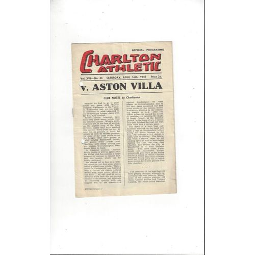 1948/49 Charlton Athletic v Aston Villa Football Programme