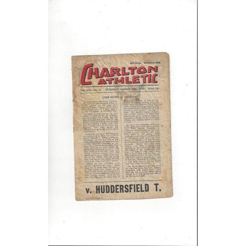 1948/49 Charlton Athletic v Huddersfield Town Football Programme