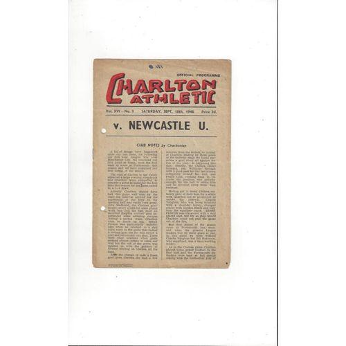 1948/49 Charlton Athletic v Newcastle United Football Programme