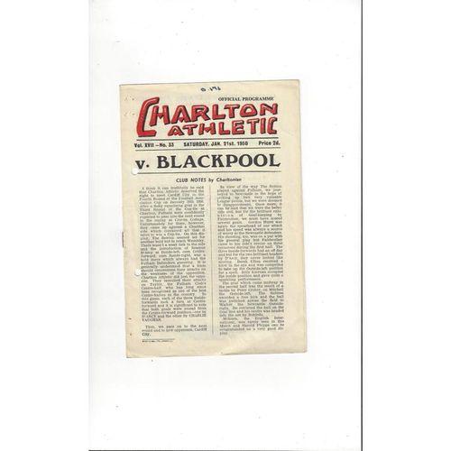 1949/50 Charlton Athletic v Blackpool Football Programme