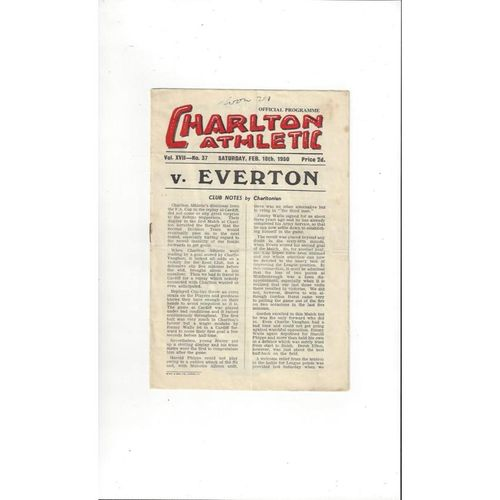 1949/50 Charlton Athletic v Everton Football Programme