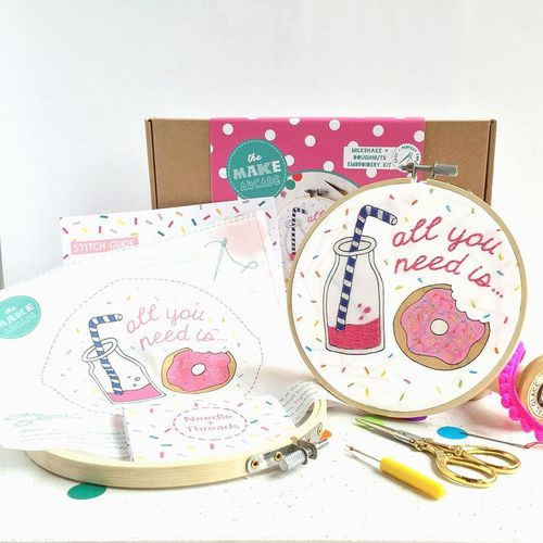 Milkshake And Doughnuts Embroidery Kit