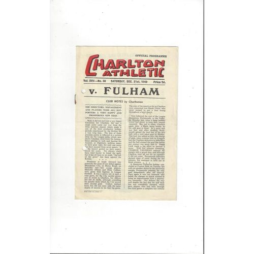1949/50 Charlton Athletic v Fulham Football Programme
