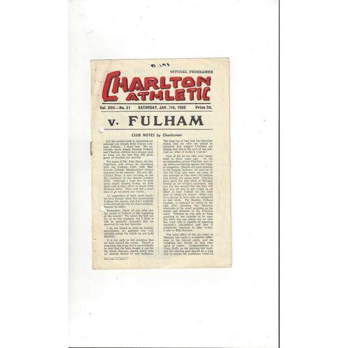 1949/50 Charlton Athletic v Fulham FA Cup Football Programme