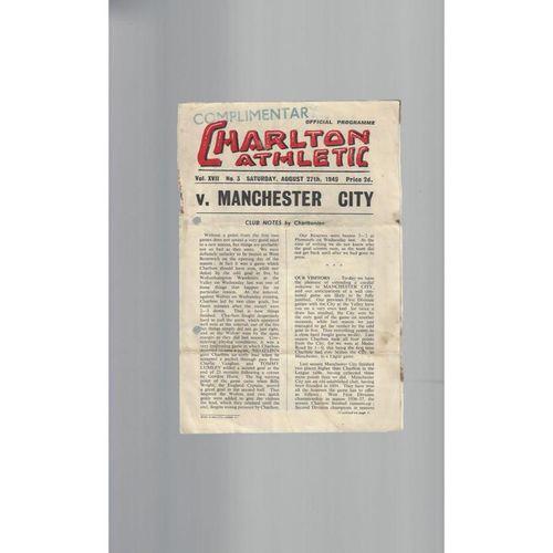 1949/50 Charlton Athletic v Manchester City Football Programme