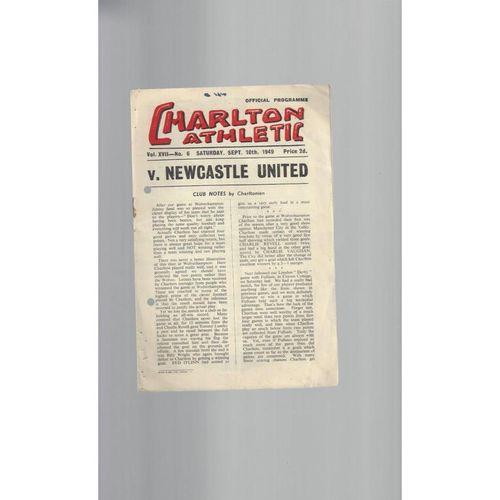1949/50 Charlton Athletic v Newcastle United Football Programme