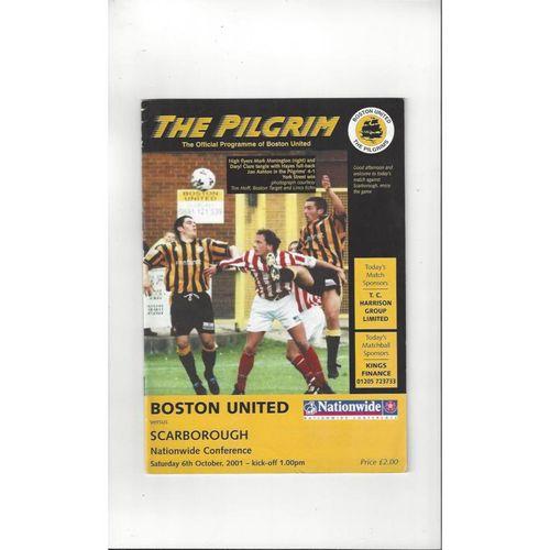 2001/02 Boston United v Scarborough United Football Programme