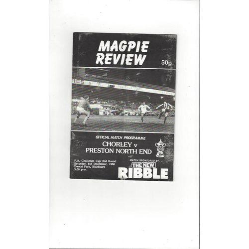 Chorley v Preston FA Cup Football Programme 1986/87 @ Blackburn Rovers