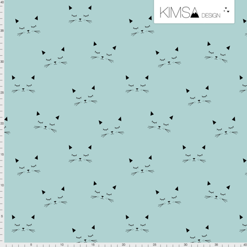 Kimsa Cats Blue Minty Organic Jersey 1.22m Remnant