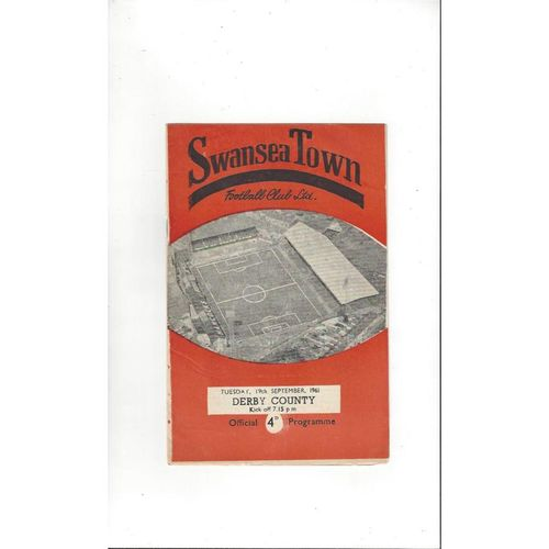 1961/62 Swansea v Derby County Football Programme