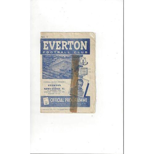 1948/49 Everton v Newcastle United Football Programme