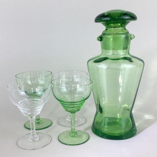 Art Deco green glass double spout cocktail shaker