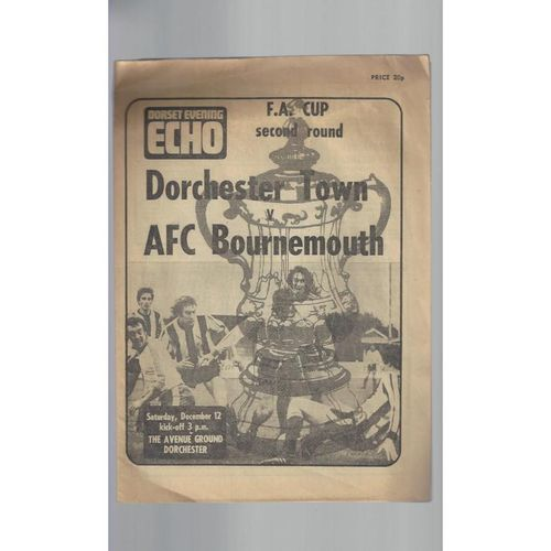 Dorchester Town v Bournemouth FA Cup Football Programme 1981/82