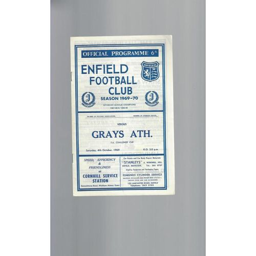 1969/70 Enfield v Grays Athletic FA Cup Football Programme
