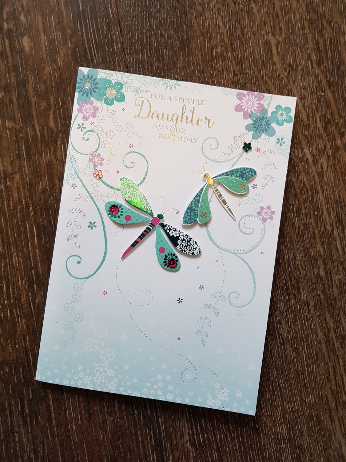 Daughter Green Butterflies Birthday Card