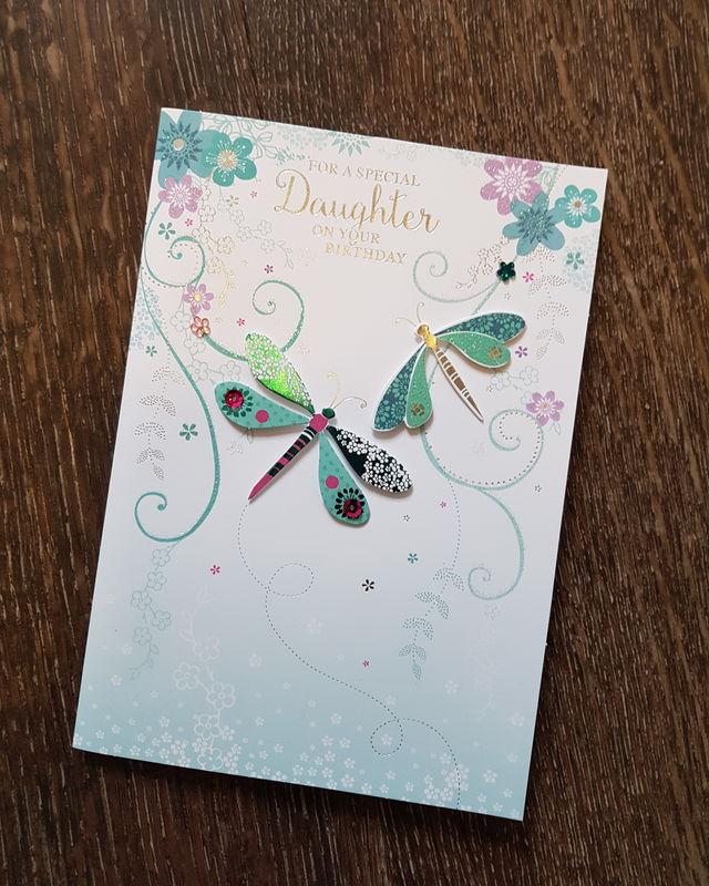 Daughter Green Butterflies Birthday Card