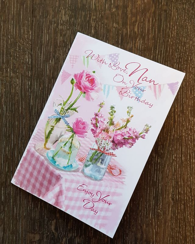 Nan Pink Flowers Birthday Card