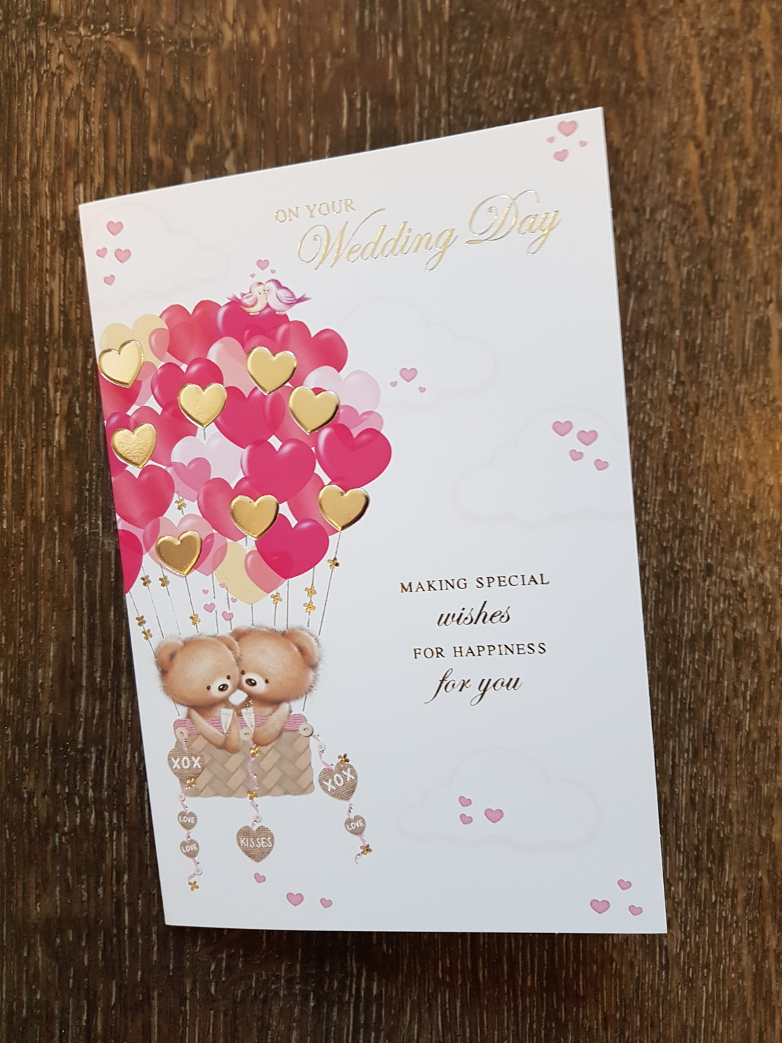 wedding day teddy hearts card