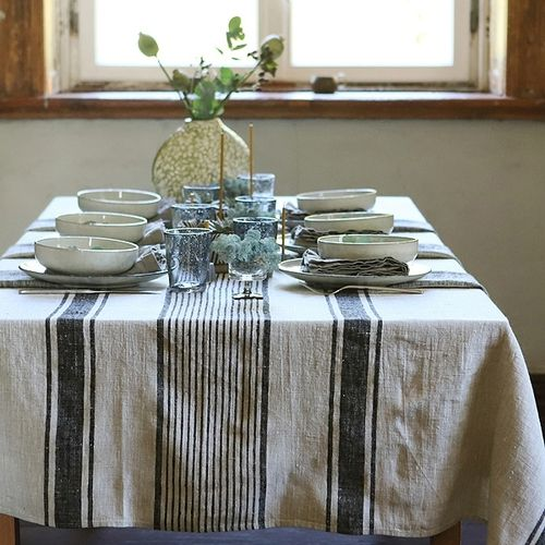 Sainte Clemente Black Stripe tablecloth