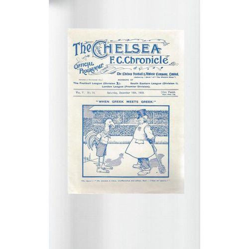 1909/10 Chelsea v Tottenham Hotspur Football Programme Reprint