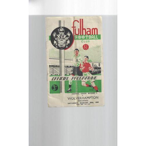 1949/50 Fulham v Wolves Football Programme