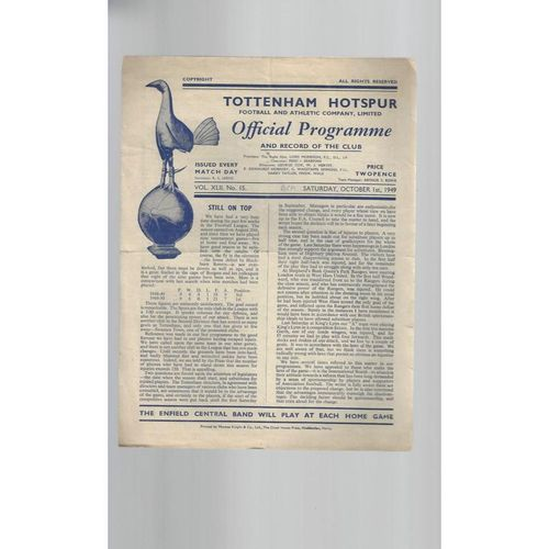 1949/50 Tottenham Hotspur v Bradford Park Avenue Football Programme