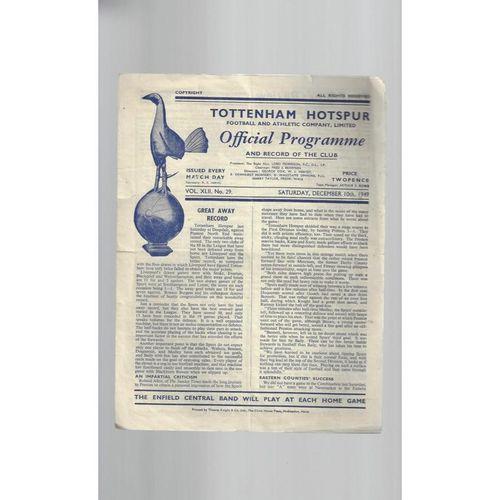 1949/50 Tottenham Hotspur v Swansea Football Programme