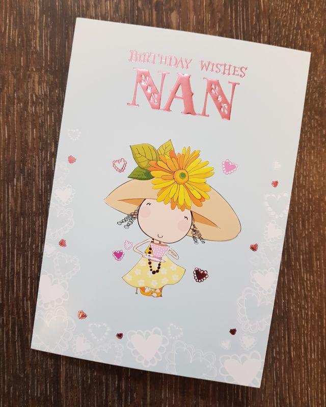 Nan Lady Hearts Birthday Card