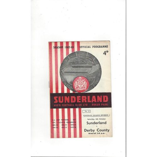 1962/63 Sunderland v Derby County Football Programme