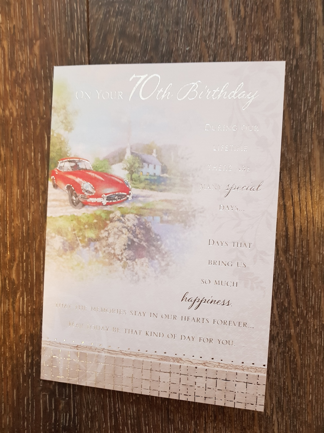 70th Birthday Car Cottage Card Remember That Card Greeting