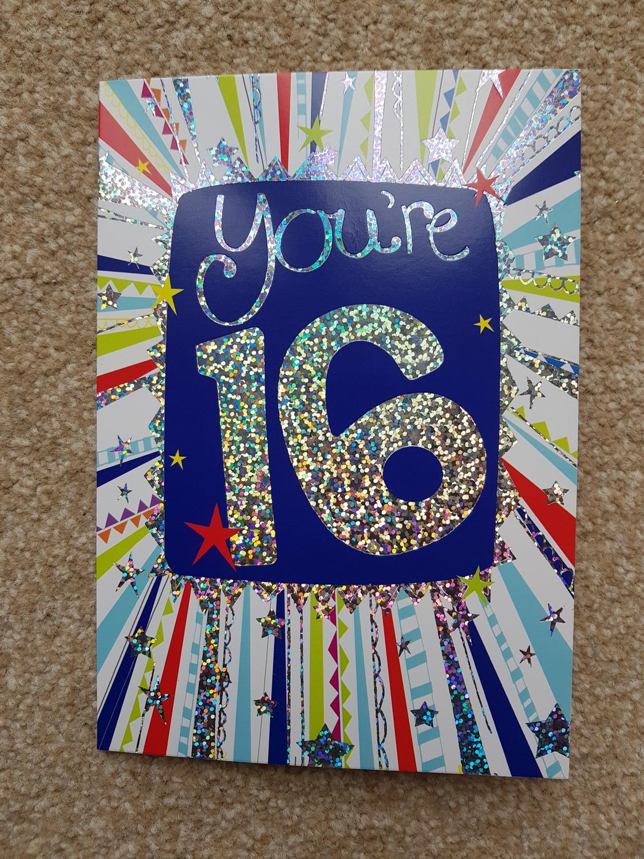 16th Birthday Stars Stripes Card