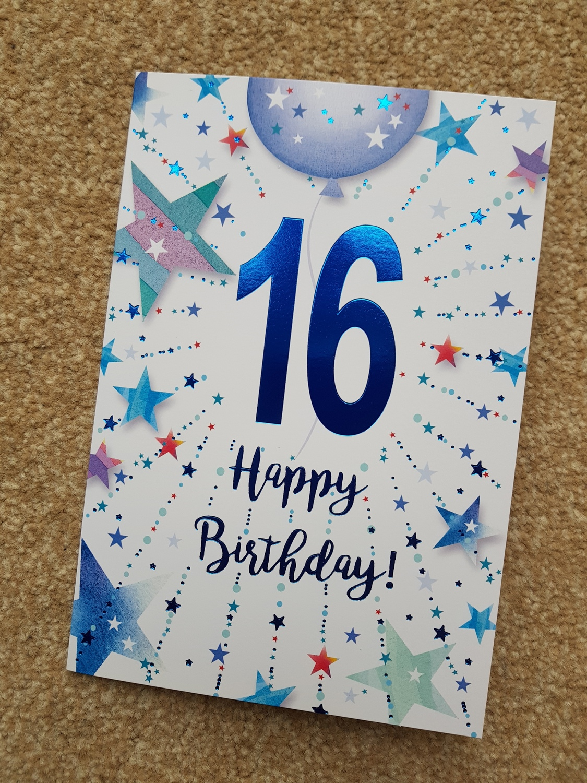 16th Birthday Blue Stars Stripes Card