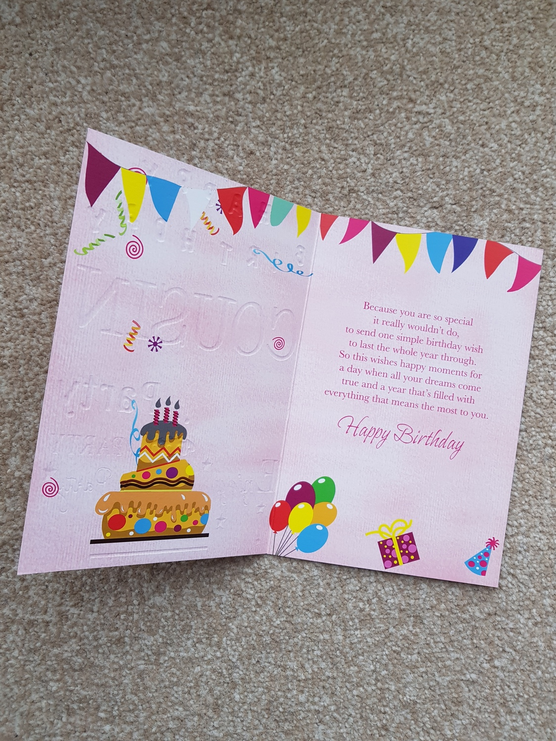 Cousin Cake Bunting Birthday Card